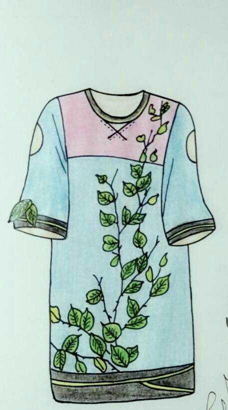 以春為元素的服裝手繪圖